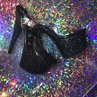 Basic Black Glitter Stripper Heels 7inch black chunky holographic glitter pole dancing platform heels with 2.75inch clear plastic straps and metal clasp. Pleaser model ADO708LG C BG
