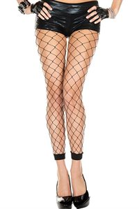 Black Fishnet Ankle Stockings Black fishnet fence net stockings from waist to ankle.