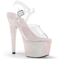 Opal Glitter Heels Opal white with a pink tint glitter platform Pleaser heels with clear ankle straps. 7 inches. Pleaser Model ADO708HMG C OPG