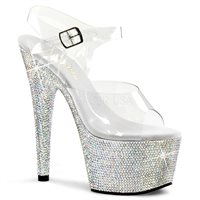 Rhinestone Bling Heels Rhinestone encrusted platform Pleaser heels in 7 inches with clear ankle straps. Pleaser Model BEJ708DM C SMCRS